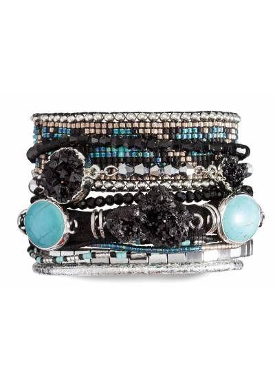Manchette-armbånd i svart/blått med perler og stein - HIPANEMA CARBONE