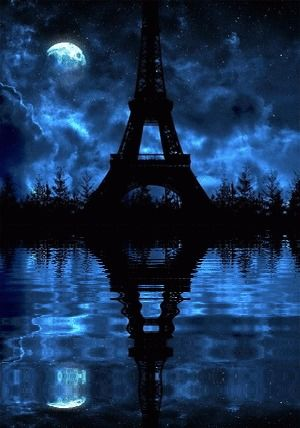 A Cloudy Blue Night with the Eiffel Tower    Art  -  Beautiful Photography of Reflection