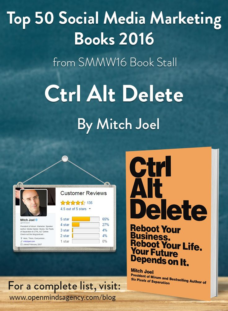 Top 50 Social Media Marketing Books 2016 - from SMMW16 Book Stall   Ctrl Alt Delete - Mitch Joel   For the complete list visit, [Click on image]  #omagency #smmw16 #books #mitchjoel