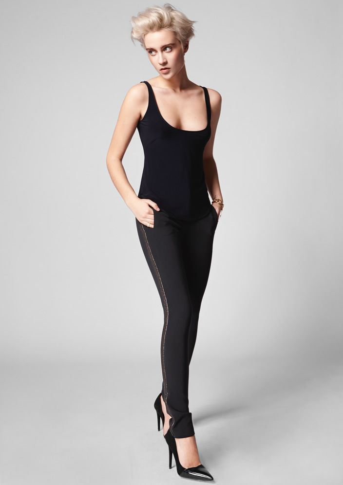 Pantalón stretch con banda lateral de lamé / Stretch pants with lamé sidebands. #lolali #moda #fashion #style #fashionforwomen #madeinspain #pants #trousers #pantalones #otoñoinvierno2015 #autumnwinter2015