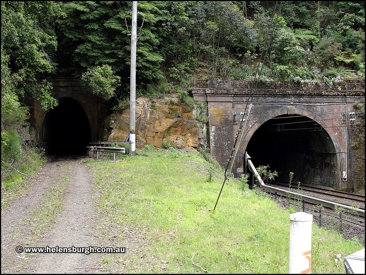 Old and older Lilyvale Tunnels.  The left is the older single railway alignment that closed on 30th May 1915.  The Lilyvale Tunnel on the right was constructed as part of the Helensburgh Deviation works to duplicate the line around the same time.  http://www.helensburgh.com.au/lilyvale-railway-tunnels/