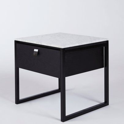 Max Bedside Table- Black Marble Top