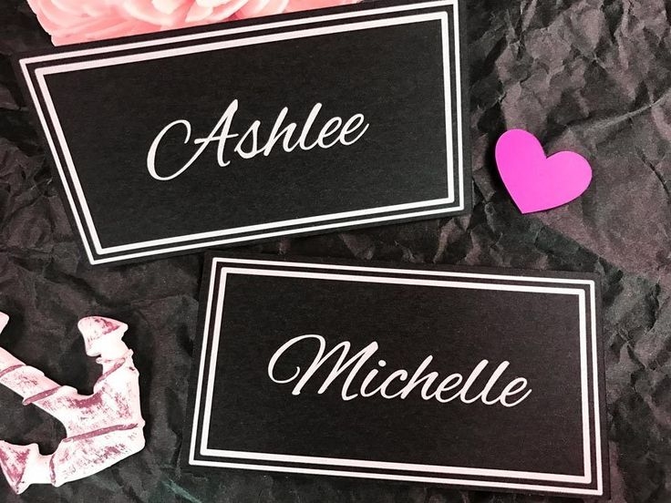 Wedding+Name+Placecards+Personalised+Black+Escort+Cards+flat+business+card+style