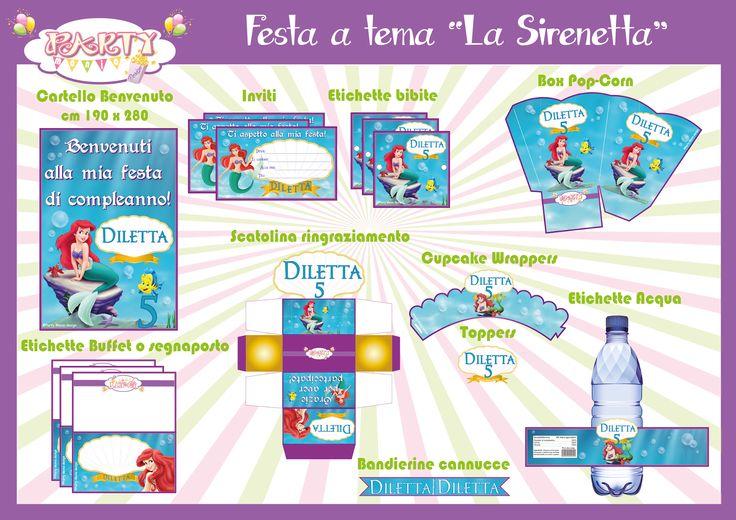 """Festa stampabile a tema """"La Sirenetta"""" INFO:  partymaniadesign@hotmail.com"""
