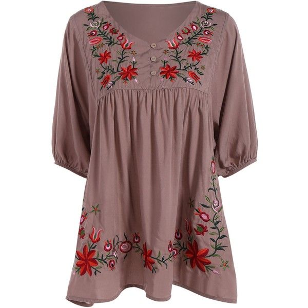 Elegant 1 2 Sleeve Embroidered Plus Size Women Dress (35 BAM) ❤ liked on Polyvore featuring dresses, broderie dress, embroidered dress, sleeved dresses, plus size sleeve dresses and red sleeve dress
