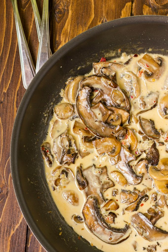 Roasted Portobello Mushrooms in Balsamic Vinegar and Fresh Garlic, combined with Pan-Fried Button Mushrooms and cream.