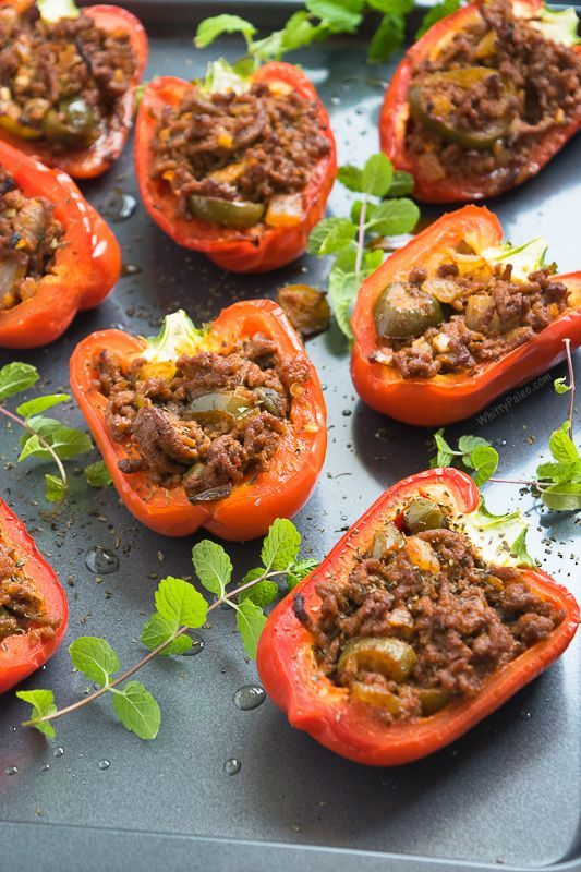 Easy Paleo Mexican Stuffed Peppers from http://WhittyPaleo.com. Takes less than 30 minutes to whip up!