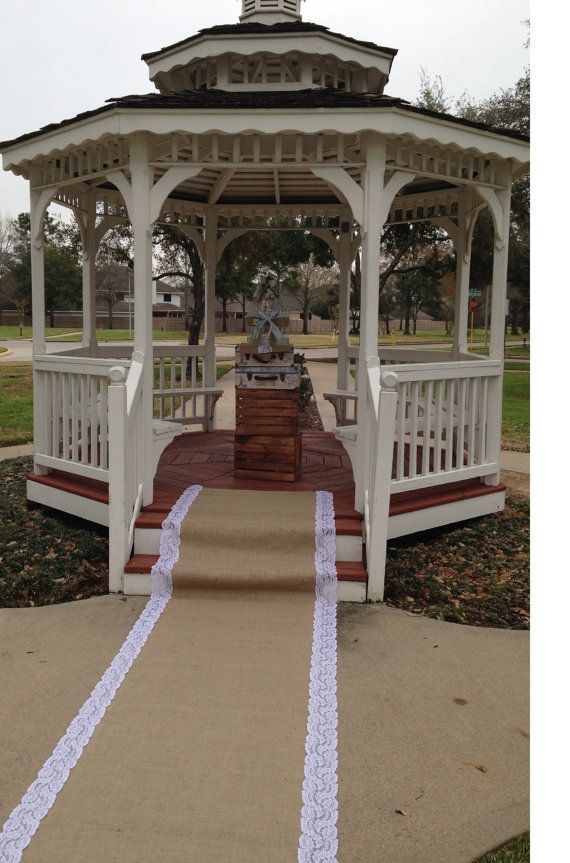 IVORY or WHITE Aisle Runner Burlap and Lace by DawnWeddingDesigns