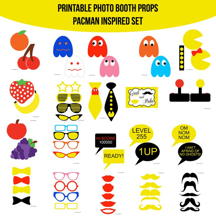 Instant Download Video Game Classic PacMan Inspired Printable Photo Booth Prop Set — Amanda Keyt DIY Photo Booth Props & More!