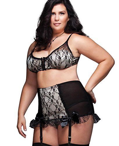 Coquette 1024X Womens Plus Size High Waisted Garter Belt  1X2X  BlackNude -- Be sure to check out this awesome product.