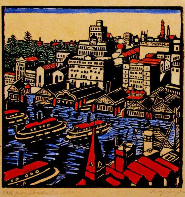 Circular Quay 1925 - Handcoloured woodblock print by Australian Artist Margaret Preston. S