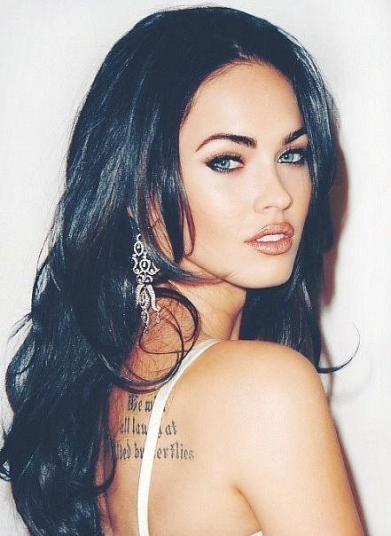 Megan Foxx- love her hair. Dark hair is just sexy! I so want to go darker with my hair!
