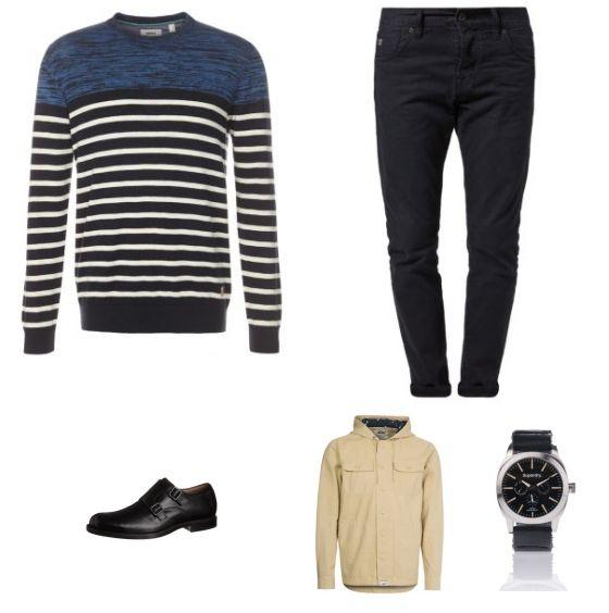 Casual Outfit outfit - Vrijetijdskleding - Deze look is ingetogen en casual. De beige jas van Vans is een mooie aanvulling op de jeans van Scotch & Soda en de trui van Mexx. De schoenen van Clarks en eht horloge van Superdry maken de look compleet.