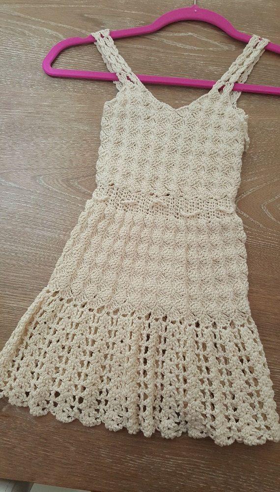 Beige Casual Handmade Crochet Beach Girl Dress 100% COTTON ECO-FRIENDLY Beacwear by OmyFashions on Etsy
