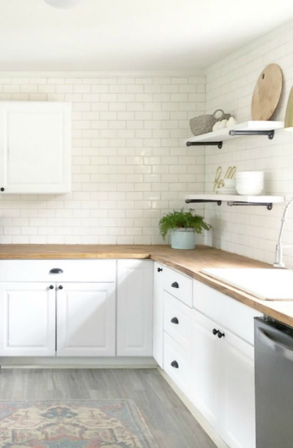 Lovely White Board And Batten Coastal Cottage Hello Lovely Coastal Cottage Kitchen White Cottage Kitchens Modern Farmhouse Kitchens
