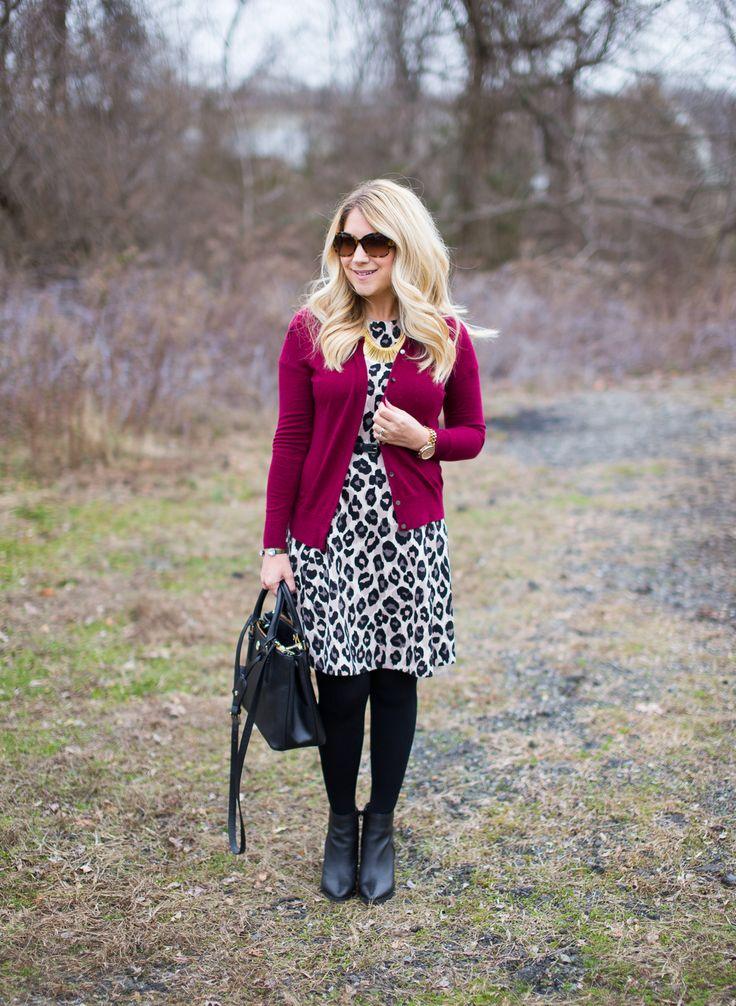 grey leopard dress burgundy cardigan outfit winter