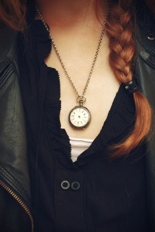 She likes the symbolism of objects, especially gifts. She wears the time-piece around her neck for a reason