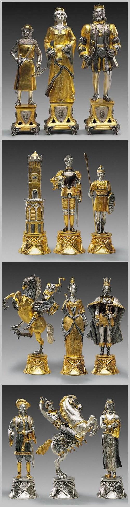 Carolingi vs Mori gold and silver themed chess pieces {pianki.com}.