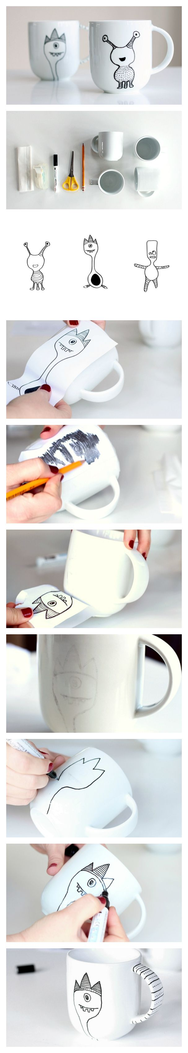 #DIY Learn how to decorate a coffee mug with a porcelain marker.avec bombomme Diy mug original pour la fête des mères et des pères