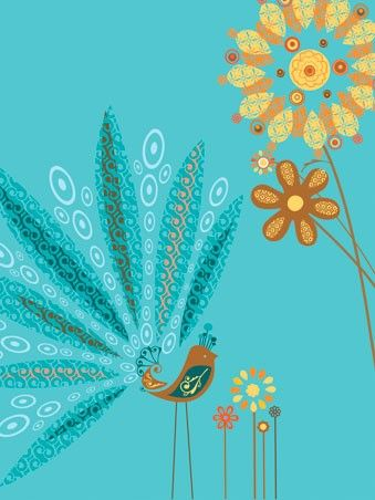 """Peacock Friend"" wall art for children by Suzanne Blanck for Oopsy daisy, Fine Art for Kids"