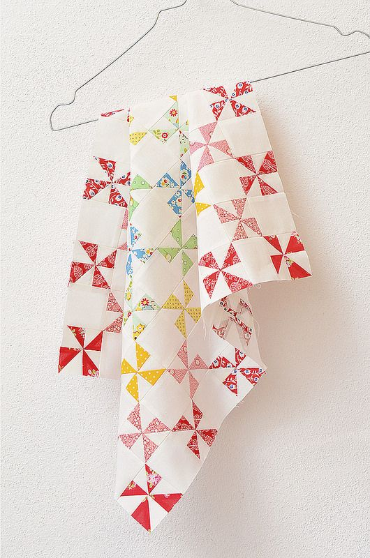 Pretty pinwheels - made using this method: http://whipup.net/2011/03/17/guest-blogger-series-half-square-triangles/