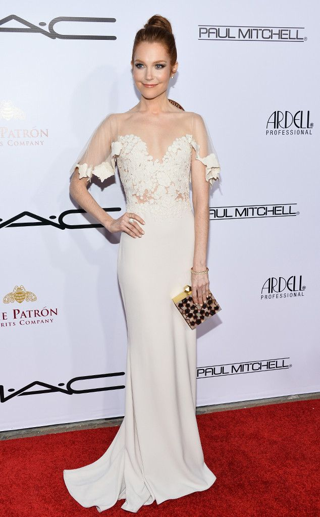 2015  Make-Up Artists & Hair Stylists Guild Awards from Party Pics: Hollywood  Scandal actress Darby Stanchfield opts for a white, romantic look.