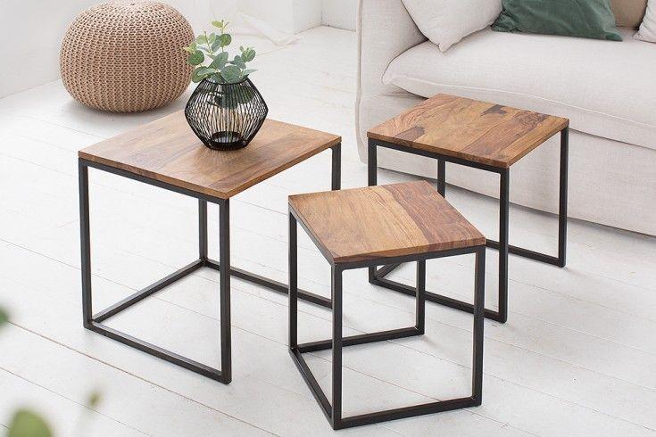 Beistelltisch 3er Set Elements 40cm Sheesham Metall Schwarz Riess Ambiente De In 2020 Tisch Couchtisch Truhe Und Haus Deko