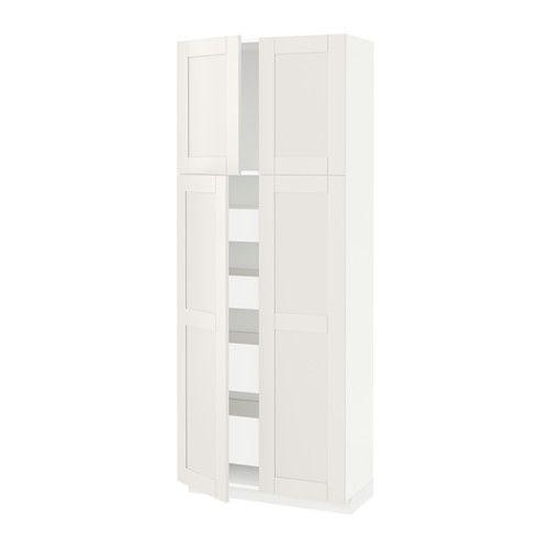 IKEA - METOD, Hi cab w 4 doors/4 drawers, white, Sävedal white, 80x37x200 cm…