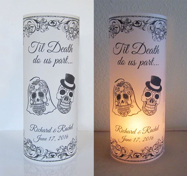 20 Personalized Sugar Skull, Day of the dead, Wedding Centerpiece Table Decoration Luminaries - My Sugar Skulls