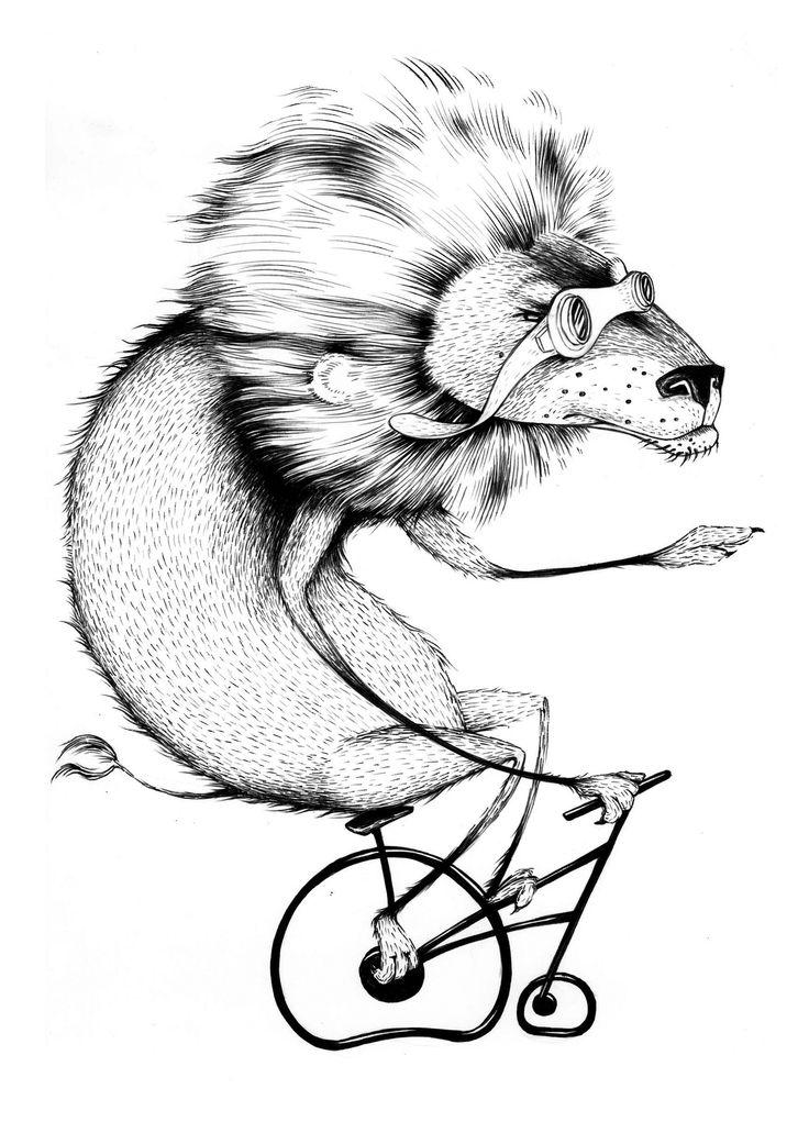 #illustration #lion #bike