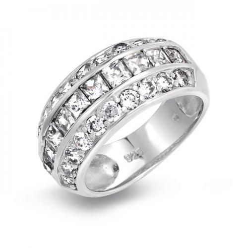 Bling Jewelry Sterling Silver Princess Cut Micro Pave CZ Wide Dome Ring