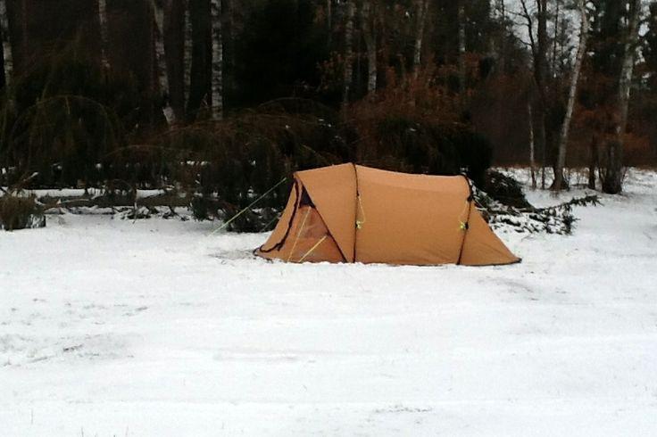 Popup telt i snevejr. ren hygge :-)