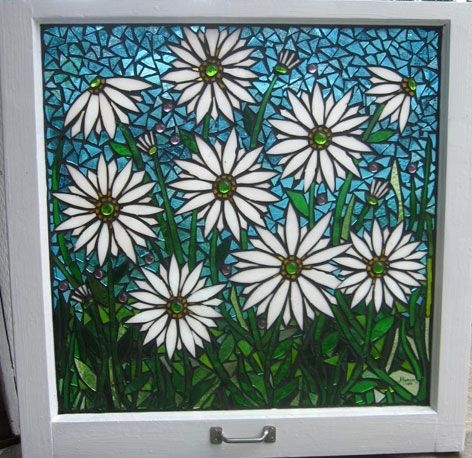 White Shasta Dasies in Bloom Stained Glass Mosaic