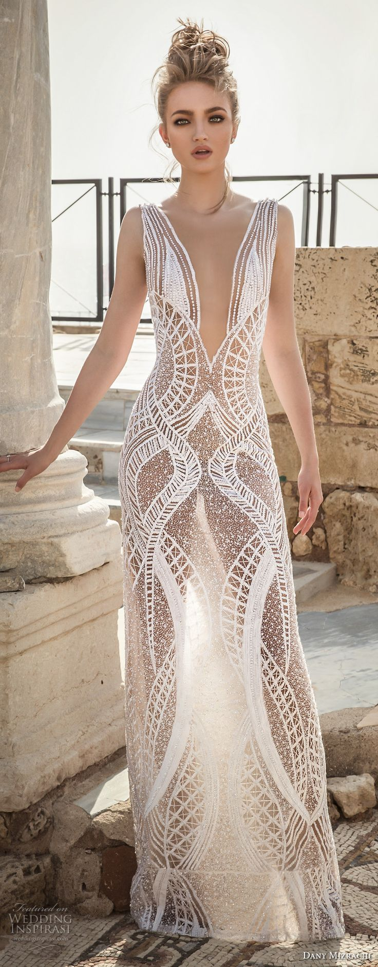danny mizrachi 2018 bridal sleeveless deep plunging v neckline full embellishment geomatric pattern sexy column wedding dress (13) mv