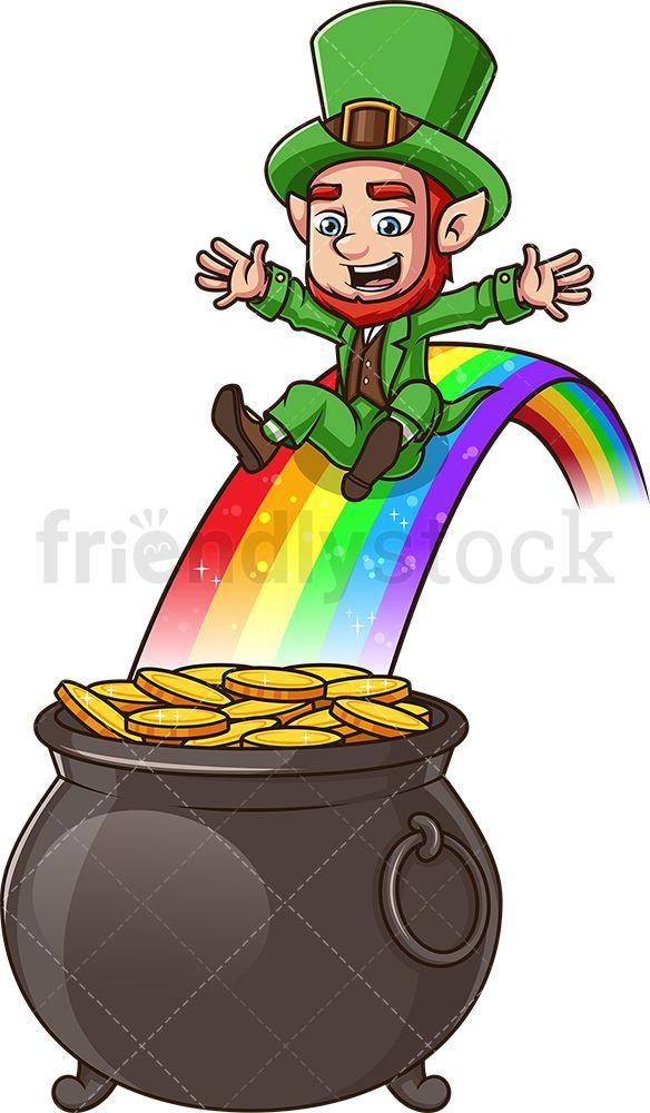 Leprechaun Sliding Into A Pot Of Gold Cartoon Vector Clipart Friendlystock In 2020 Leprechaun Clipart Pot Of Gold Gold Drawing
