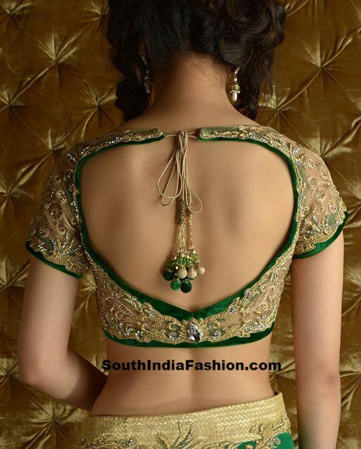 Net Saree Blouse~Latest Blouse Designs~South India Fashion