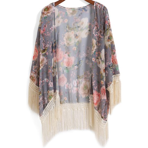 SheIn(sheinside) Grey Floral Bird Print Tassel Chiffon Kimono ($15) ❤ liked on Polyvore featuring kimonos, cardigans, jackets, outerwear, tops and multicolor