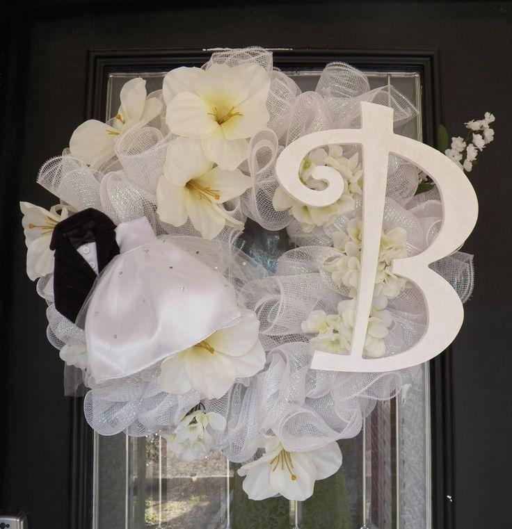 Monogram Wedding Wreath, Monogram Bridal Shower Wreath, Bridal Shower Decoration by OccasionsBoutique on Etsy #weddingdecoration #bridalshowerdecor #occasionsboutique