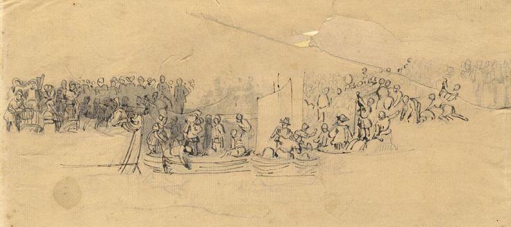 Charles Cattermole Atryb. - 19th Century pióro i atrament rysunek, Regaty Dzień