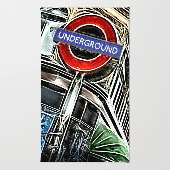 London Underground Sign Area & Throw Rug