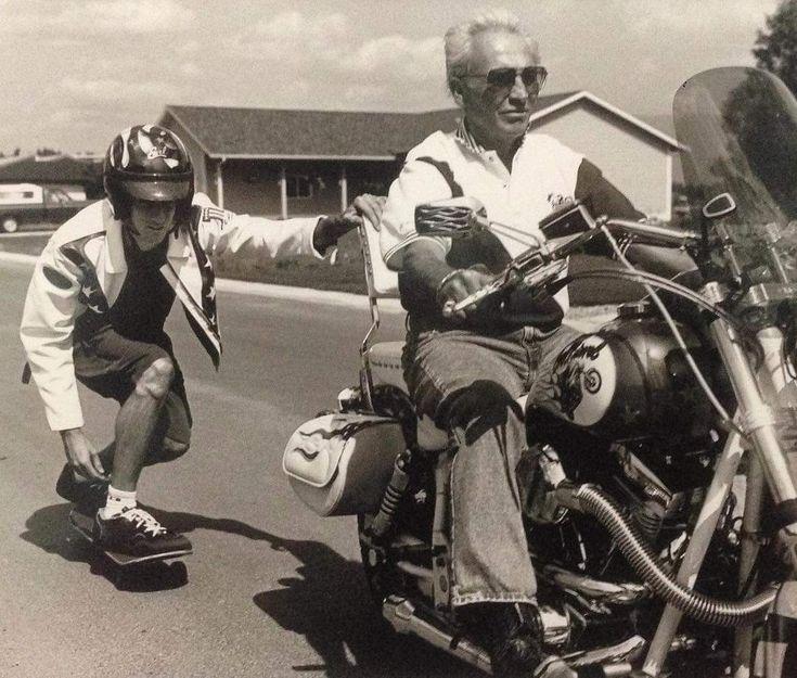 Tony Hawk skitching with Evel Knievel 1990's