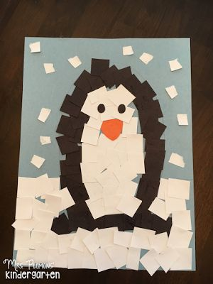 Glue Paper Penguin Craft/Fine Motor practice for Tot School {from Mrs. Plemons' Kindergarten}