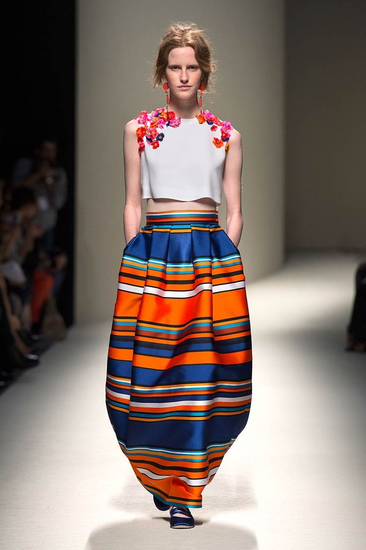 Alberta Ferretti playfully mixed floral and stripes at #springsummer #milanfashionweek
