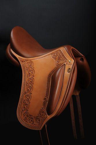 Hand tooled dressage saddle by French saddler Jean-Luc Parisot, Parisotsellier.com