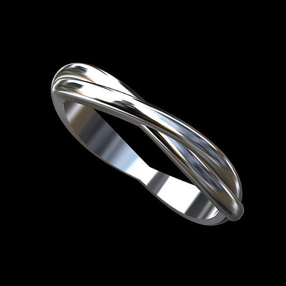 Platinum Double Twisted Infinity Wedding Band 3mm wide by OroSpot, $749.00