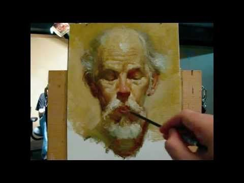 """Really nice demonstration; """"The poet"""", alla prima portrait demo of Gregory, a 130 minutes painting by Zimou Tan"""