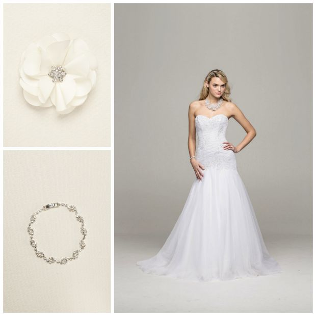 Gown WG3532, Headpiece 35986C001, Bracelet 9721 || David's Bridal Busts Out A Big Ol' Heaping of Savings