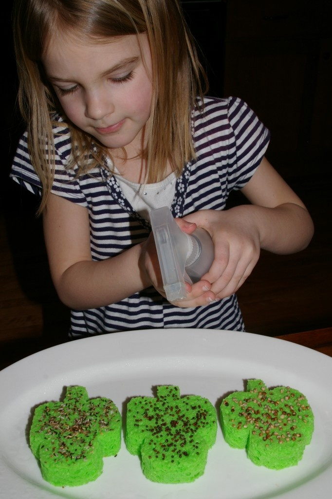 Shamrock sprouts--cut out shamrocks from sponges, layer with seeds, add water, and watch them grow!