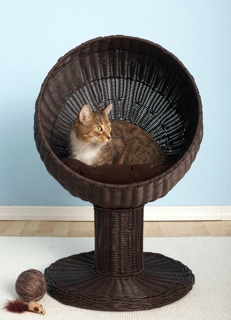 Kitty Ball Cat Bed in faux rattan