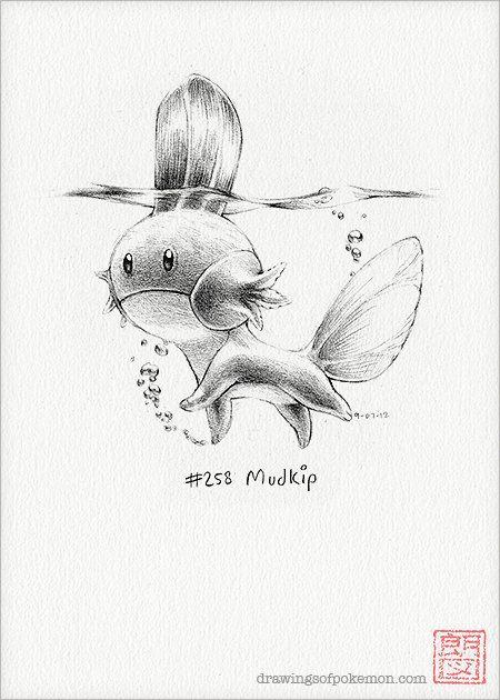 "Mudkip - 5 x 7"" print (pokemon drawing, art, artwork, gaming, nintendo, decor)"